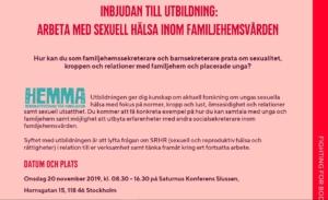 Inbjudan till utbildning RFSU: Arbeta med sexuell hälsa inom familjehemsvården