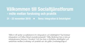 Konferenstips: Socialtjänstforum, tema integration & delaktighet 21–22 nov